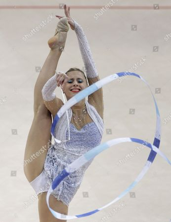 Caroline Weber of Austria Performs with the Ribbon During Her Individual Apparatus Programm at the 27th Rhythmic Gymnastics European Championship in Minsk Belarus 28 May 2011 Belarus Minsk