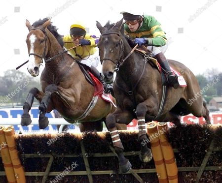 London United Kingdom : Baracouda (r) Trained by Francios Doumen of France with His Jockey and Son Thierry on Board 27 April 2001 on His Way to Win the 3 Mile Championship Hurdle (class A) (grade1) at Sandown Park From Carlovent (l) Ridden by Richard Greene the Championship Hurdle is Normally Run at the Cheltenham Festival But was Cancelled Because of the Foot and Mouth Crisis in the Uk