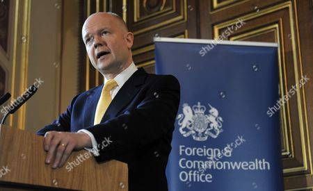 British Foreign Secretary Minister William Hague Speaks at the Foreign Office on the Human Rights and Democracy Report in London Britain 31 March 2011 Britain Has Said It Has not Offered Libyan Foreign Minister Moussa Koussa Immunity From Prosecution Following His Unexpected Arrival in the Country Uk Foreign Secretary William Hague Said Mr Koussa Had Resigned and the Gaddafi Regime was 'Crumbling From Within' Uk Officials Are Questioning Mr Koussa a Former Head of Intelligence who was Close to Col Gaddafi United Kingdom London