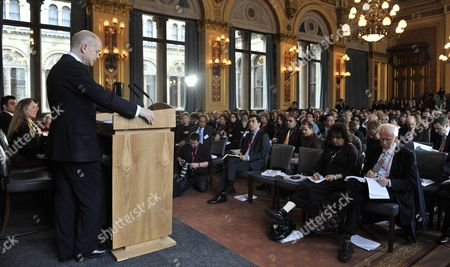 British Foreign Secretary Minister William Hague Speaks at the Foreign Office Following a Speech on the Human Rights and Democracy Report in London Britain 31 March 2011 Britain Has Said It Has not Offered Libyan Foreign Minister Moussa Koussa Immunity From Prosecution Following His Unexpected Arrival in the Country Uk Foreign Secretary William Hague Said Mr Koussa Had Resigned and the Gaddafi Regime was 'Crumbling From Within' Uk Officials Are Questioning Mr Koussa a Former Head of Intelligence who was Close to Col Gaddafi United Kingdom London