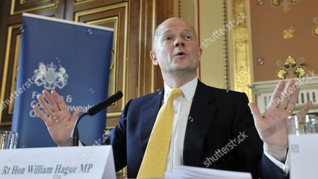 British Foreign Secretary Minister William Hague Speaks at the Foreign Office on the Human Rights and Democracy Report in London Britain 31 March 2011 Britain Has Said 31 March It Has not Offered Libyan Foreign Minister Moussa Koussa Immunity From Prosecution Following His Unexpected Arrival in the Country Hague Said Koussa Had Resigned and the Gaddafi Regime was 'Crumbling From Within' Uk Officials Are Questioning Koussa a Former Head of Intelligence who was Close to Col Gaddafi United Kingdom London