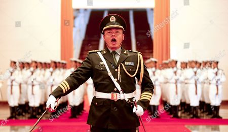 A Member of a Guard of Honor of the Pla (peoples Liberation Army) Shouts During a Rehearsal Prior to a Welcome Ceremony Hosted by Chinese Premier Wen Jiabao For Visiting Mongolian Prime Minister Sukhbaataryn Batbold (both not in Picture) Inside the Great Hall of the People in Beijing China 16 June 2011 Batbold is in China on a 3-day Official Visit China Beijing