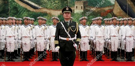 Members of a Guard of Honor of the Pla (peoples Liberation Army) Stand at Attention at the End of a Welcome Ceremony Hosted by Chinese Premier Wen Jiabao For Visiting Mongolian Prime Minister Sukhbaataryn Batbold (both not in Picture) Inside the Great Hall of the People in Beijing China 16 June 2011 Batbold is in China on a Three-day Official Visit China Beijing
