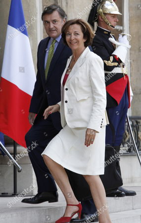 French Minister of Foreign Trade and President of the European Union Council of Ministers Anne Marie Idrac (r) and French Ambassador in Romania Henri Paeul (l) Arrive to Participate a Meeting of French Ambassadors and Senior Diplomats with President Nicolas Sarkozy at Elysee Palace in Paris France 25 August 2010 Sarkozy Spoke About French Courses of Action in Foreign Policy France Paris