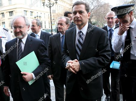 French Immigration Minister Eric Besson (r) and Chief Police Michel Gaudin (c) and General Police Director Jacques Quastanay (l) Arrive to the Police Department in Paris France 05 February 2009 Besson Visited the Police Department to See the New Policy and Strategy to Fight Against Illegal Immgration and Clandestinity L