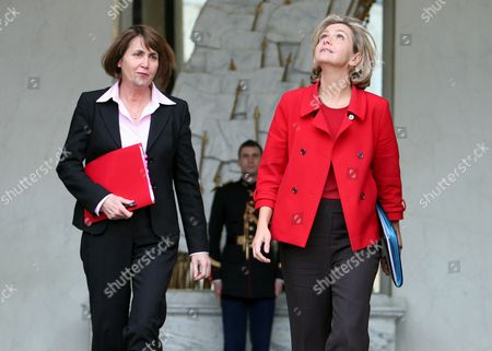 French Culture Minister Christine Albanel (l) and High Education Minister Valerie Pecresse (r) Leave After Taking Part in the French Council Ministers at the Elysee Palace in Paris France 18 February 2009