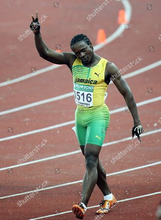 Jamaica Lerone Clarke Celebrates His Win in the Men's 100m Final of the Track and Field Competition of the Commonwealth Games in New Delhi India on 7 October 2010 Jamaica's Lerone Clarke Powered to the Men's 100 Metres Title at the Commonwealth Games Crossing the Line in 10 12 Seconds Followed by England's Mark Anthony Lewis- India New Delhi