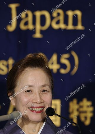 Stock Picture of Japanese Prime Minister Naoto Kan's Wife Nobuko Kan Smiles As She Gives a Press Conference at the Foreign Correspondents' Club of Japan in Tokyo Japan 12 January 2011 Japan's First Lady Received the Media Attention in 2010 As She Published a Book Titled 'What on Earth Will Change in Japan After You Become Prime Minister?' After Her Husband Became Prime Minister Japan Tokyo