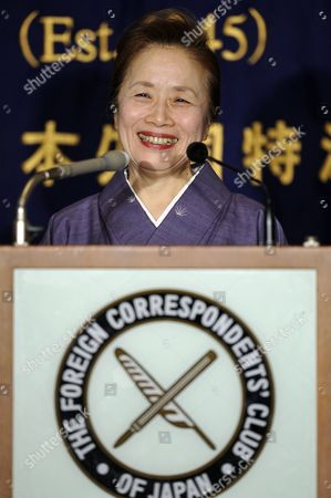 Stock Image of Japanese Prime Minister Naoto Kan's Wife Nobuko Kan Smiles As She Gives a Press Conference at the Foreign Correspondents' Club of Japan in Tokyo Japan 12 January 2011 Japan's First Lady Received the Media Attention in 2010 As She Published a Book Titled 'What on Earth Will Change in Japan After You Become Prime Minister?' After Her Husband Became Prime Minister Japan Tokyo