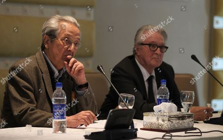 French Lawyer Jacques Verges (l) and Former French Foreign Minister Roland Dumas (r) Attend a News Conference in Tripoli Libya on 29 May 2011 According to Media Reports Vergers and Dumas Said During Their Joint Media Conference That Nato is Bombarding Civilians in Libya and That They Would Represent Families of the Victims in an Action to Sue Nato Libyan Arab Jamahiriya Tripoli