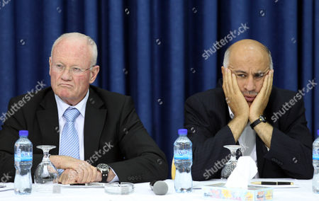 Stock Picture of Dani Yatom (l) a Former Head of the Israeli Mossad Spy Agency Sits Next to Jabril Rajoub a Former Head of the Palestinian Preventative Security Forces Listening to Palestinian President Mahmoud Abbas (not Pictured) As He Addresses the 'Israeli Peace Initiative' in the 'Muqata ' the Palestinian Authority's Headquarters in the West Bank Town of Ramallah on 28 April 2011 Abbas Spoke at Length About the Peace Process and How Close the Leadership was to Making an Angrement and About the Current Impasse with the Israeli Government of Benjamin Netanyahu Due to Jewish Settlement Building on 'Occupied' Palestinian Land Abbas Also Spoke at Length About the Fatah-hamas Agreement Reached Only Yesterday and what That Would Mean in the Future Abbas Said That Pece Talks with Israel Are Still Possible Adding That the Palestine Liberation Organization (plo) Would Be Be Handling Politics and Negotiations As Hamas Does not Belong to the Plo - Ramallah
