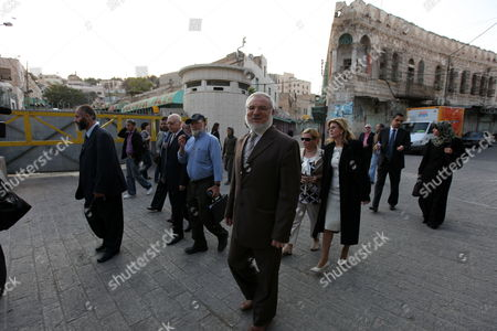 Hamas Member Azziz Dweik (front) of the Palestinian Legislative Council (plc) is Seen As He Visits Along with Jewish British Mp Gerald Kaufman the Old District of the Restive Mainly Palestinian City of Hebron in the Israeli Occupied West Bank City of Hebron 01 November 2010 - Hebron