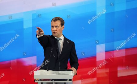 Russian President Dimitry Medvedev Chooses a Journalist During His Annual Press Conference at the Moscow School of Management in Skolkovo Outside Moscow Russia on 18 May 2011 Russian President Dmitry Medvedev Said 18 May He Had not Yet Decided Whether to Run For Re-election in 2012 But That He Would Make a Decision Soon Russian Federation Skolkovo