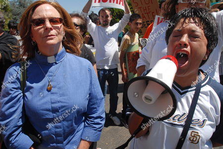 Two Women Participate in a Protest Against Joseph Arpaio Sheriff of Maricopa County in Arizona Outside the Country Club where He is to Give a Presentation For a Meeting of the Conservative Order of Good Government in San Diego California Usa on 10 August 2010 Arpaio Has Drawn Much Attention For His Hard Line Law Enforcement Style and His Support of Local Enforcement of Federal Immigration Laws About 120 Protestors Turned out Against Arpaio United States San Diego