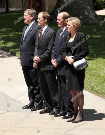 The Children of Former Us First Lady Betty Ford Jack (l) Michael (2-l) Steven (2-r) and Susan Ford (r) Watch Her Casket Arrive For Her Funeral at Grace Episcopal Church in Grand Rapids Michigan Usa on 14 July 2011 She Will Be Interned Next to Her Husband Former Us President Gerald Ford at His Presidential Museum in Grand Rapids United States Grand Rapids