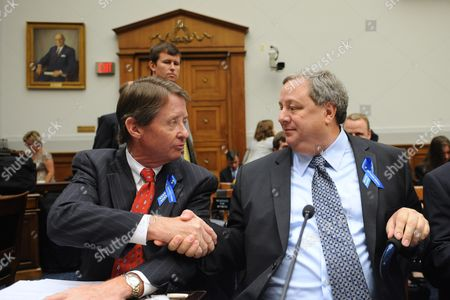 Keith Jones (front L) Father of Gordon Jones who Died While Working on the Deepwater Horizon Shakes Hands with Douglas Brown (r) Employee of Transocean Ltd and Survivor of the Deepwater Horizon Explosion Before They Testify at the House Judiciary Committee Hearing on 'Legal Liability Issues Surrounding the Gulf Coast Oil Disaster' on Capitol Hill in Washington Dc Usa 27 May 2010 the House Judiciary Committee is Attempting to Determine the Liability of the 20 April 2010 Bp Oil Spill That Killed 11 People and Injured 17 Others Also in the Picture is Chris Jones (back L) Brother of Gordon Jones United States Washington