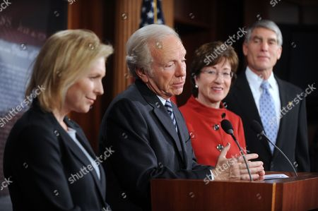 Independent Senator Joe Lieberman (l) of Connecticut Delivers Remarks During a Press Conference After the Senate Passed a Bill to Repeal the Don't Ask Don't Tell (dadt) Policy on Capitol Hill in Washington Dc Usa 18 December 2010 Also in the Picture is Democratic Senator Kirsten Gillibrand (l) of New York Republican Senator Susan Collins (2-r) of Maine and Democratic Senator Mark Udall of Colorado (r) United States Washington