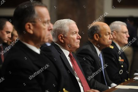 Us Chairman of the Joint Chiefs of Staff Mike Mullen (l) Us Secretary of Defense Robert Gates (2-l) General Counsel of the Department of Defense Jeh Johnson (2-r) and Us General Carter Ham (r) Appear Before the Senate Armed Services Committee Hearing Examining a Defense Department Report on the Repeal of the Don't Ask Don't Tell Policy on Capitol Hill in Washington Dc Usa 02 December 2010 the Pentagon Report Found That 70 Per Cent of Service Members Thought There Would Be Little Impact on Military Readiness if the Policy was Repealed Allowing Gays to Openly Serve United States Washington