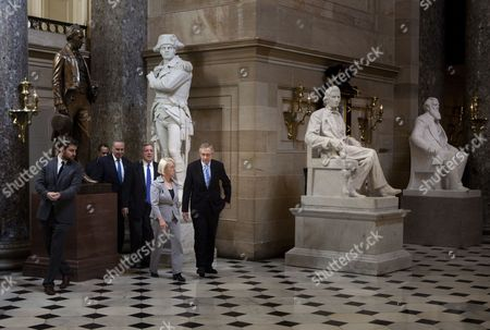 Senate Majority Leader Senator Harry Reid (d-nv) (r) Walks Through Statuary Hall with Senator Charles E Schumer (d-ny) (3l) Senate Democratic Whip Senator Richard Durbin (d-il) (3r) and Senator Patty Murray (d-wa) (2r) After Meeting with House Minority Leader Nancy Pelosi (d-ca) and Others on Capitol Hill in Washington Dc Usa 31 July 2011 the Us Senate Plans to Vote on a Democrat Backed Bill to Address the United States's Debt Ceiling While the Country Continues Toward Defaulting on It's National Debt United States Washington