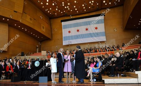 Chicago Mayor Rahm Emanuel (2-l) Takes the Oath of Office From Cook County Circuit Court Chief Judge Timotnh C Evans (r) to Become the First Person to Replace Former Mayor Richard M Daley in 22 Years As His Wife Amy Rule (3-l) and Children Ilana (l) Leah (3-r) and Zach (2-r) Watch at Millennium Park in Chicago Illinois Usa 16 May 2011 Emanuel is a Former Us Congressman and the Former Chief of Staff For President Barack Obama Dailey who Followed in the Footsteps of His Father Former Mayor Richard J Daley Did not Seek Reelection United States Chicago