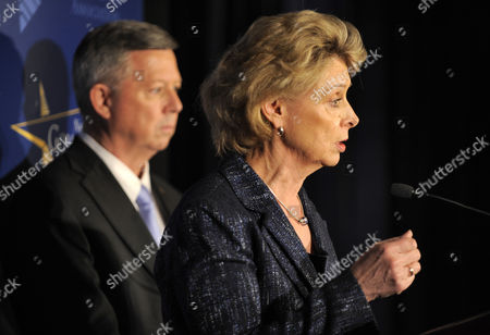National Governors Association Chair Governor Christine Gregoire (democrat / Washington) (r) Makes Remarks As Vice Chair Governor Dave Heineman (republican / Nebraska) Listens During a Press Availability After a Meeting with President Obama During the Nga's Annual Winter Meetings in Washington Dc Usa 28 February 2011 the Nation's Governors Are Concluding a 3-day Meeting During Which They Addressed Issues on the Economy Infrastructure and the Environment United States Washington