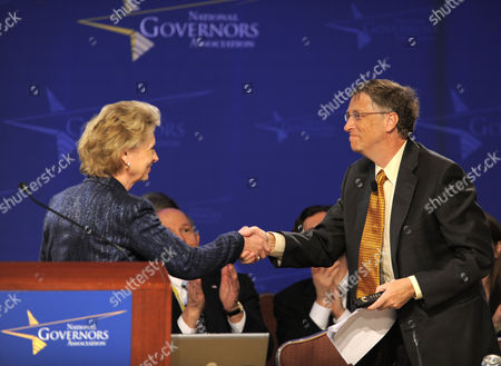 Bill Gates (r) Shakes Hands with National Governors Association Chair Governor Christine Gregoire (democrat / Washington) As He Arrives to Address the Nga's Annual Winter Meetings in Washington Dc Usa 28 February 2011 Gates Co-chair of the Bill and Melinda Gates Foundation and Chairman of Microsoft Corp Addressed the Governors on the Importance of Education in His Speech 'Preparing to Succeed in a Global Economy' United States Washington