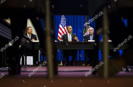 U S President Barack Obama (c) Sitting Next to His Chief of Staff William Daley (r) and Chairman & Ceo For Ubs Group Americas Robert Wolf (l) Holds a Meeting with the President's Council on Jobs and Competitiveness in the Eisenhower Executive Office Building Next Door to the White House in Washington Dc Usa on 24 February 2011 United States Washington