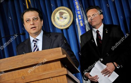 Manhattan United States Attorney Preet Bharara (l) Stands with Thomas Harrigan (r) the Chief of Operations of the Drug Enforcement Administration During a Press Conference where They Discussed the Extradition and Indictment of Alleged Arms Dealer Viktor Bout in New York New York Usa on 17 November 2010 Bout who was Arrested in 2008 was Extradited From Thailand to the United States Yesterday United States New York