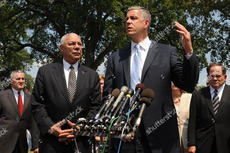 Former Us Secretary of State General Colin Powell (front L) Listens to Us Secretary of Education Arne Duncan (front R) Deliver Remarks to Members of the News Media Following a Meeting with Business Leaders and Obama Administration Officials on Ways to Improve Education and the Us Workforce at the White House in Washington Dc Usa 18 July 2011 United States Washington
