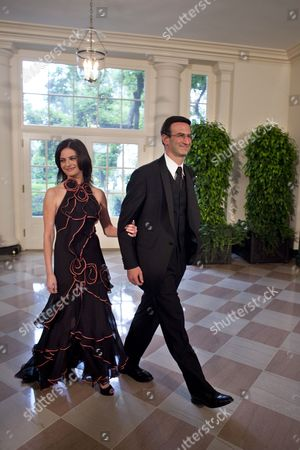 Stock Photo of Peter Orszag Director of the White House's Office of Management & Budget Accompanied by Ms Bianna Golodryga Arrives at the White House's Second State Dinner For Mexican President Phillipe Calderon and His Wife Mrs Zavalas in Washington Dc Usa on 19 May 2010 Mexican President Calderon is in Washington For a State Visit to Discuss with President Obama the Issues of Immigration and Security Cooperation United States Washington