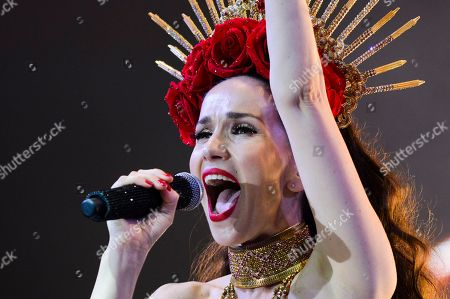 """Uruguayan singer and actress Natalia Oreiro performs in concert in tribute to the late Argentine cumbia singer Gilda, in Montevideo, Uruguay, late . Oreiro starred in the recent film biopic """"No me arrepiento de este amor"""" about Gilda's life and career"""