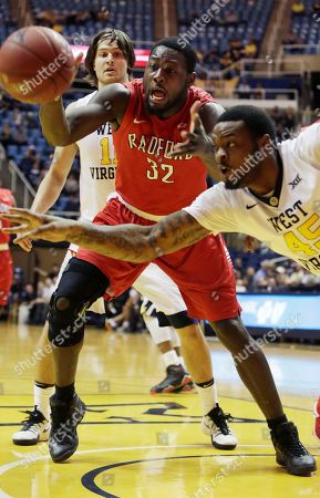 Elijah Macon, Randy Phillips West Virginia forward Elijah Macon (45) steals the ball from Radford center Randy Phillips (32) during the second half of an NCAA college basketball game, in Morgantown, W.Va