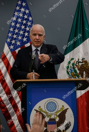 Sen. John McCain, R-Ariz. speaks during a press conference in Mexico City, . McCain met Mexico's Foreign Affairs Minister Claudia Ruiz Massieu during a one-day visit in Mexico City