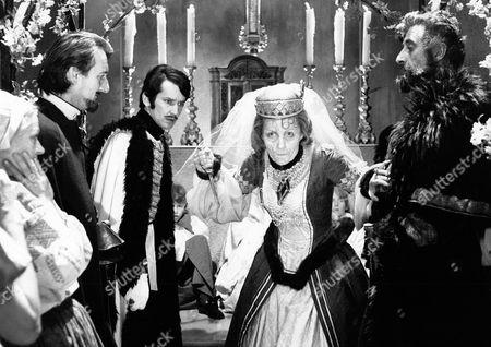 'Countess Dracula'  Film - 1971 - Imre Toth (Sandor Eles), the Hussar Officer, Countess Elizabeth (Ingrid Pitt), Captain Dobi (Nigel Green)