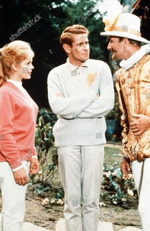 'Father Came Too'  Film - 1964 - Dexter Munro (Stanley Baxter) Centre, Talks with Roddy Chipfield (Leslie Phillips) Who is Dressed in a Shakespeare Type Outfit as  Juliet Munro (Sally Smith) Watches