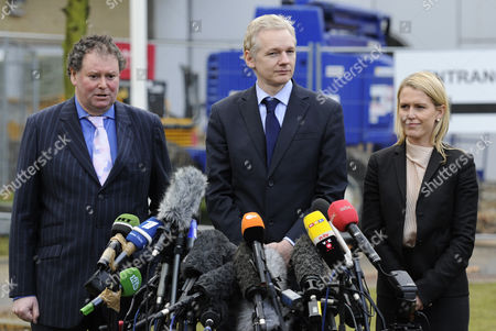 Wikileaks Founder Julian Assange (c) is Flanked by His Lawyer Mark Stevens (l) and a Member of His Legal Team As He Speaks to the Media Outside Belmarsh Magistrates Court in London 11 January 2011 Assange Appeared in Court For a Hearing Linked to Sweden's Request For His Extradition on Sexual Offence Allegations United Kingdom London