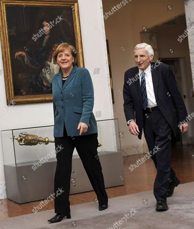 German Chancellor Angela Merkel (l) with Lord Martin Rees Prior to Receiving the King Charles Ii Medal at the Royal Society in London Britain 01 April 2010 Merkel was Awarded the Honour For Her Contributions to Strengthening the Role of Science in Policy Merkel Met Earlier with Gordon Brown at His Country Residence For Talks United Kingdom London