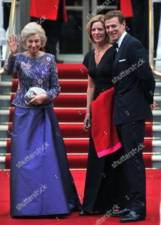 Britain's Princess Alexandra (l) Her Son James (r) and Daughter in Law Julia Ogilvy (c) Arrive For a Pre-wedding Dinner Held at the Mandarin Oriental Hyde Park in London Britain 28 April 2011 on the Eve of the Royal Wedding of Prince William and Kate Middleton United Kingdom London