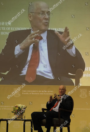 Former Secretary of the Us Department of the Treasury Henry Paulson Speaks at a Forum on 'Global Economic and China Us Economic Relation' at the Hong Kong University in Hong Kong China 11 April 2001 China Hong Kong