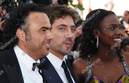 (l-r) Mexican Director Alejandro Gonzalez Inarritu Spanish Actor Javier Bardem and Senegalese Actress Diaryatou Daff Arrive For the Screening of the Movie 'Biutiful' During the 63rd Cannes Film Festival in Cannes France 17 May 2010 the Movie by Alejandro Gonzalez Inarritu is Presented in Competition at the Cannes Film Festival 2010 Running From 12 to 23 May France Cannes