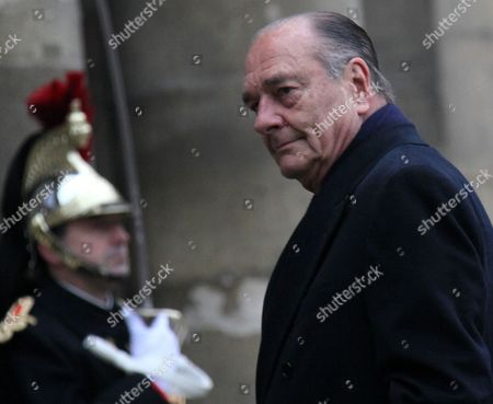 Former French President Jacques Chirac Arrives at the Chapel For the Funeral Ceremony For Former French Politician and President of the 'Cour Des Comptes' (france's Public Finance Watchdog Committee) Philippe Seguin at Invalides in Paris France 11 January 2010 Seguin an Influential and Eurosceptic French Politician Died of a Heart Attack on 07 January 2010 Aged 66 France Paris