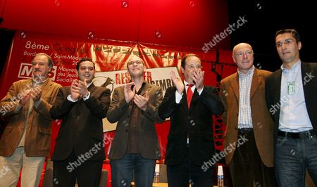 (l-r) Noel Mamere Razzye Hammadi Antoine D?tourn? Fran?ois Hollande Alain Rousset and Olivier Dartigolles Saint-m?dard-en-jalles in Southwestern France 04 November 2007 the Young Socialist Movement Appointed Antoine D?tourn? As Head of Division Replacing Razzye Hammadi France Saint-medard-en-jalles