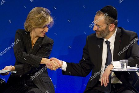 The Great Rabbi of France Gilles Bernheim (r) and French Research and Higher Education Minister Valerie Pecresse (l) Attend the Ump Party's Debate on Secularism in Paris France 05 April 2011 France's Ruling Conservative Party Held the Debate to Establish a Framework For the Practice of Islam in French Society - a Debate Which Has Stirred Controversy Across France Forcing the Party to Fend Off Accusations of Bigotry France Paris