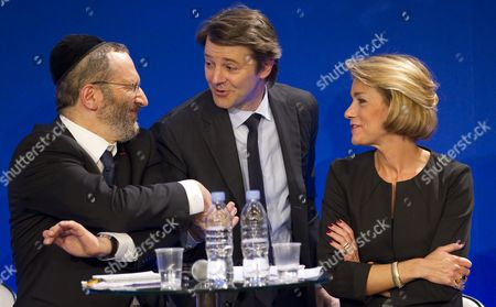 (l-r) the Great Rabbi of France Gilles Bernheim French Budget Minister Francois Baroin and Paris University Law Professor Anne Levade Attend the Ump Party's Debate on Secularism in Paris France 05 April 2011 France's Ruling Conservative Party Held the Debate to Establish a Framework For the Practice of Islam in French Society - a Debate Which Has Stirred Controversy Across France Forcing the Party to Fend Off Accusations of Bigotry France Paris
