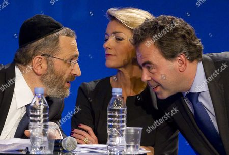 (l-r) the Great Rabbi of France Gilles Bernheim Paris University Law Professor Anne Levade and French Education Minister Luc Chatel Attend the Ump Party's Debate on Secularism in Paris France 05 April 2011 France's Ruling Conservative Party Held the Debate to Establish a Framework For the Practice of Islam in French Society - a Debate Which Has Stirred Controversy Across France Forcing the Party to Fend Off Accusations of Bigotry France Paris