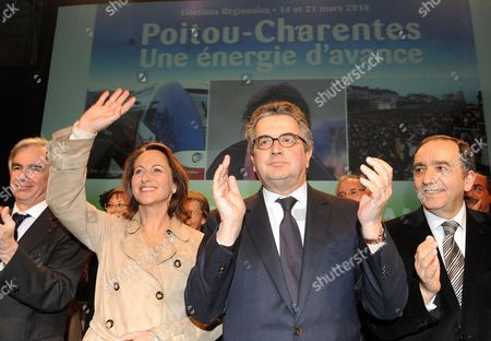 French Socialist Party Opposition Politician Segolene Royal (c-l) Waves to Supporters During a Regional Election Campaign with the Mayor of La Rochelle Maxime Bono (l) Alain Claeys (c-r) Mayor of Poitiers and Deputy Jean Grellier (r) in Poitiers France 11 March 2010 France's Regional Election Allows to Vote For the Regional Councillors who Sit in the Regional Council For a Mandate of Six Years France Poitiers