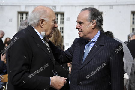 French Minister of Culture Frederic Mitterrand (r) Shakes Hand with French Actor Michel Piccoli (l) Prior to a Ceremony in Homage of Spanish Writer Intellectual and Former Culture Minister Jorge Semprun in Paris France on 11 June 2011 Semprun who Went Into Exile in France Leaving Spain with His Family After the Spanish Civil War Died on 07 June 2011 at His Home in Paris at the Age of 87 Semprun's Funeral Will Be Held Sunday 12 June 2011 As a Close Family Affair in Garantreville Near Paris France Paris