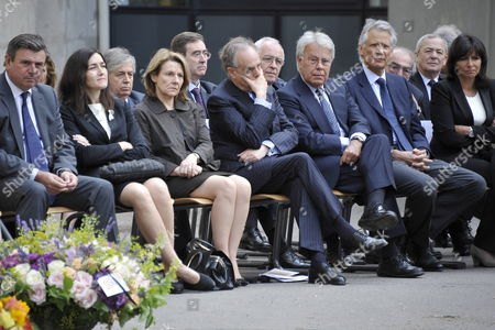 (l-r Front Row) French Ambassador in Spain Bruno Delaye Spanish Minister of Culture Angeles Gonzalez-sinde Adviser to the French President Nicolas Sarkozy Catherine Pegard French Minister of Culture Frederic Mitterrand Former Spanish Socialist Prime Minister Felipe Gonzalez Former French Prime Minister Dominique De Villepin and French Paris Deputy-mayor Anne Hidalgo Attend a Ceremony in Homage of Spanish Writer Intellectual and Former Culture Minister Jorge Semprun in Paris France on 11 June 2011 Semprun who Went Into Exile in France Leaving Spain with His Family After the Spanish Civil War Died on 07 June 2011 at His Home in Paris at the Age of 87 Semprun's Funeral Will Be Held Sunday 12 June 2011 As a Close Family Affair in Garantreville Near Paris France Paris