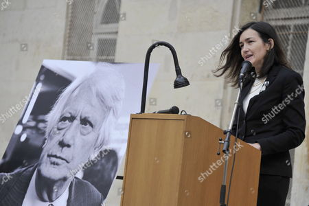 Spanish Culture Minister Angeles Gonzalez-sinde Delivers a Speech During a Ceremony in Homage of Spanish Writer Intellectual and Former Culture Minister Jorge Semprun in Paris France on 11 June 2011 Semprun (seen on a Portrait L) who Went Into Exile in France Leaving Spain with His Family After the Spanish Civil War Died on 07 June 2011 at His Home in Paris at the Age of 87 Semprun's Funeral Will Be Held Sunday 12 June 2011 As a Close Family Affair in Garantreville Near Paris France Paris