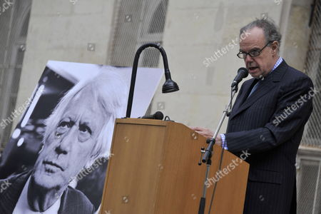 French Minister of Culture Frederic Mitterrand Delivers a Speech During a Ceremony in Homage of Spanish Writer Intellectual and Former Culture Minister Jorge Semprun in Paris France on 11 June 2011 Semprun (seen on a Portrait L) who Went Into Exile in France Leaving Spain with His Family After the Spanish Civil War Died on 07 June 2011 at His Home in Paris at the Age of 87 Semprun's Funeral Will Be Held Sunday 12 June 2011 As a Close Family Affair in Garantreville Near Paris France Paris
